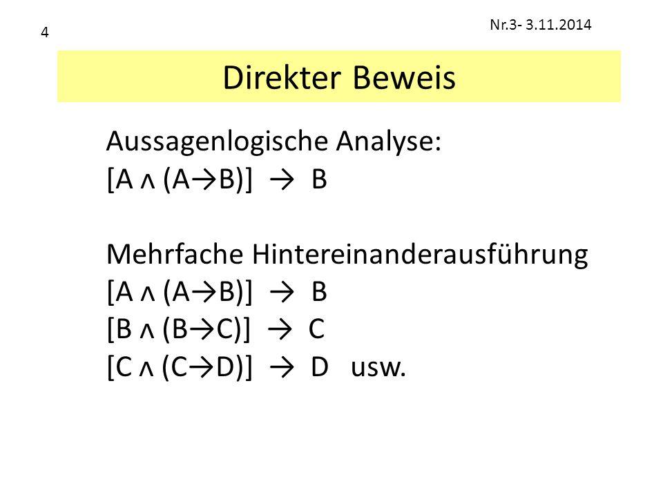 Direkter Beweis Aussagenlogische Analyse: [A ᴧ (A→B)] → B